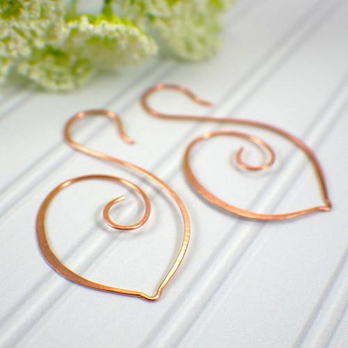 Swan hoop earrings copper large
