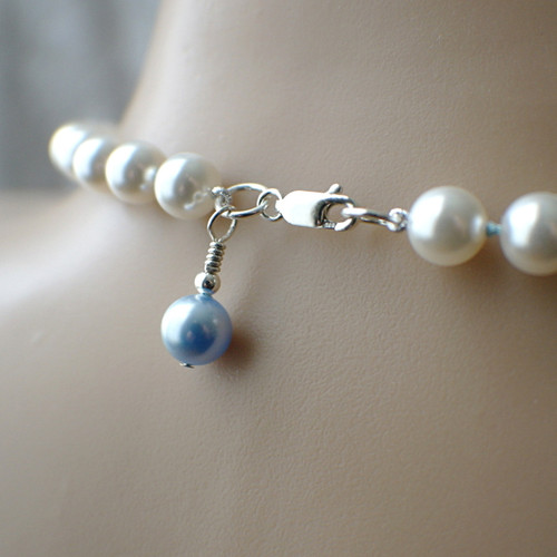 Something blue Swarovski crystal pearl necklace bridal white sterling
