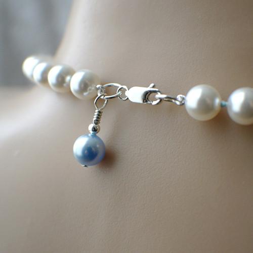 Something blue Swarovski crystal pearl necklace bridal white sterling