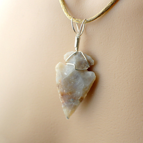 Arrowhead pendant silvery grey wire wrapped in sterling silver