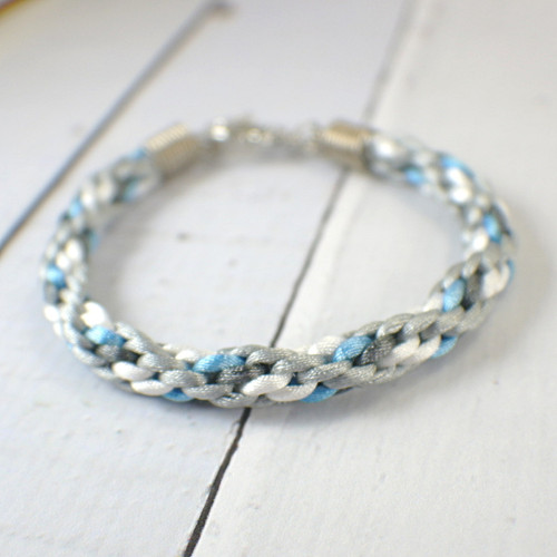 Kumihimo white grey and blue braided bracelet 8 inch