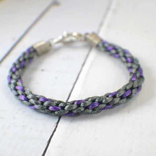 Kumihimo charcoal and purple braided bracelet 8 inch