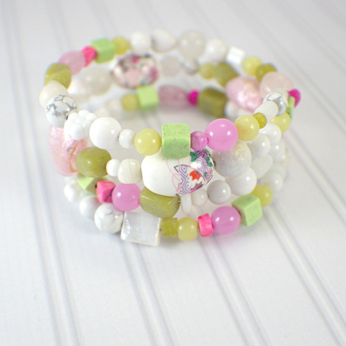 Memory wire cherry blossoms wide bracelet pink white lime light green