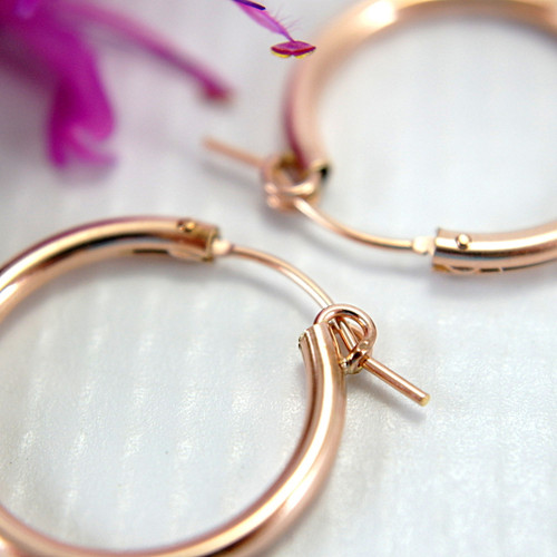 Rose gold filled hollow hoop earrings 22mm medium