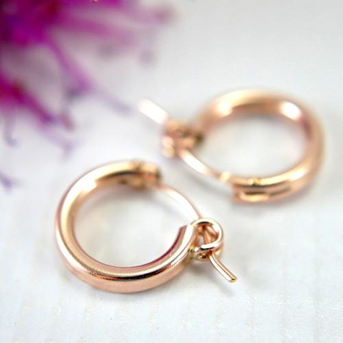Rose gold filled hollow hoop earrings 13mm