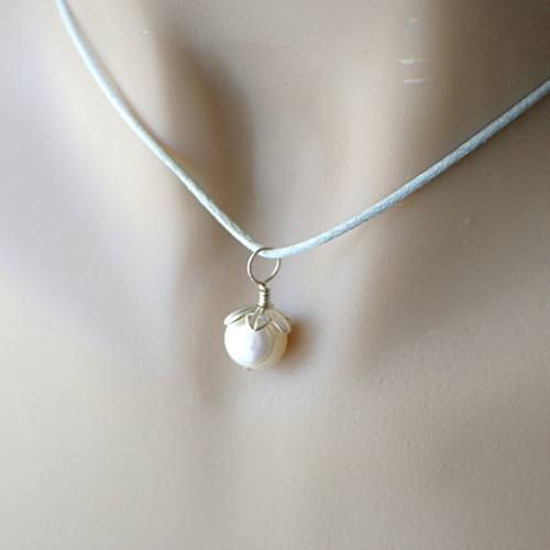 Pearl flower pendant on grey satin cord sterling silver