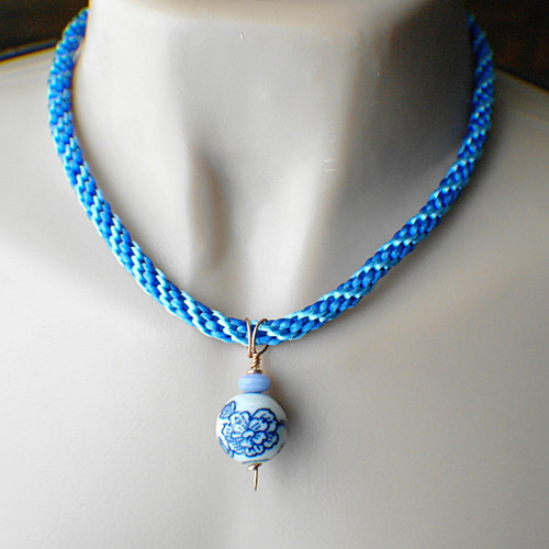 Blue porcelain china pendant necklace kumihimo copper