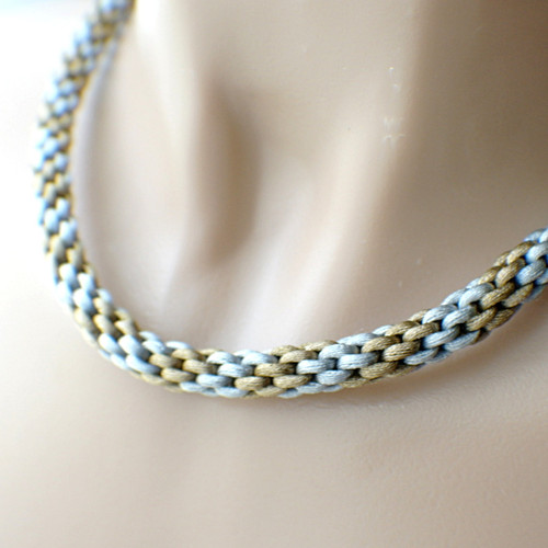 8 strand braided necklace kumihimo silver grey and golden brown