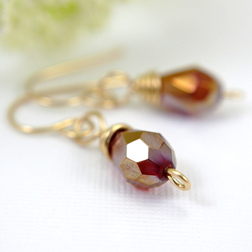 Red faceted teardrop earrings gold filled dangles