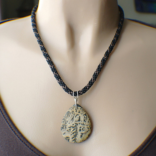 Ferny gemstone teardrop pendant necklace in black and brown on 8 strand satin kumihimo braid cord sterling silver 20 inch