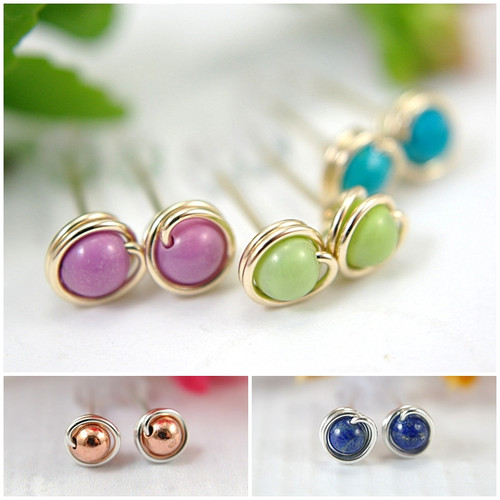 Wholesale Lot of 30 pairs tiny post earrings in 925 sterling silver and 14k gold filled