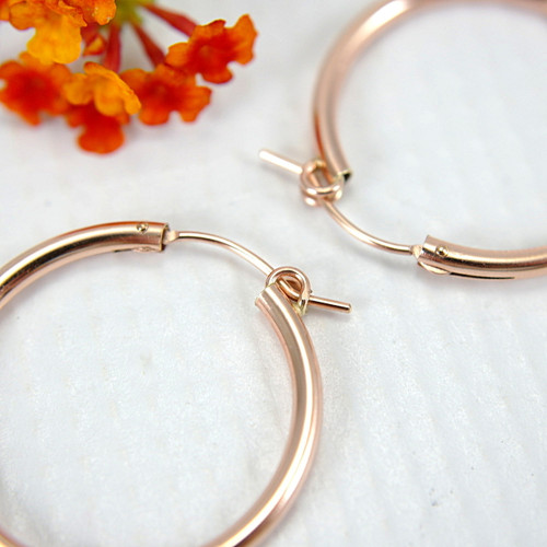 Rose gold filled hollow hoop earrings 27mm medium large