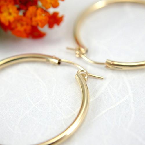 14k gold filled hollow hoop earrings 34mm large