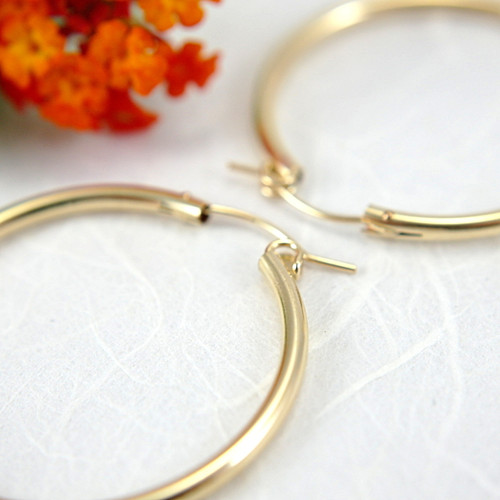 14k gold filled hollow hoop earrings 34mm large