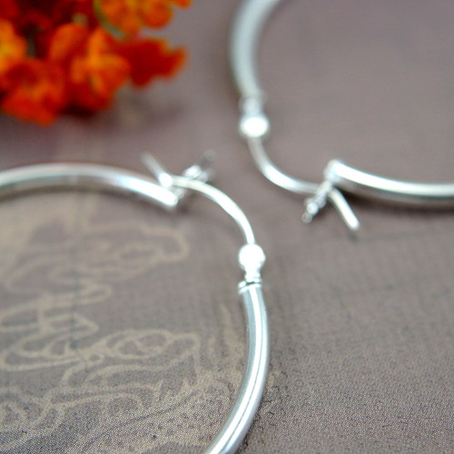 Sterling silver hollow hoop earrings 35mm large