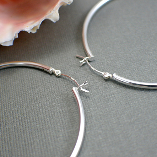 Sterling silver hollow hoop earrings 50mm large