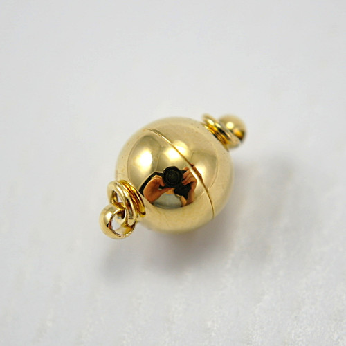 Magnetic clasp ball shaped gold plated 8x12mm