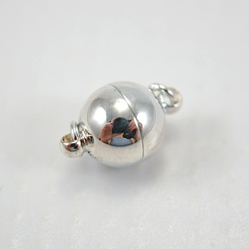 Magnetic clasp ball shaped silver plated 8x10mm