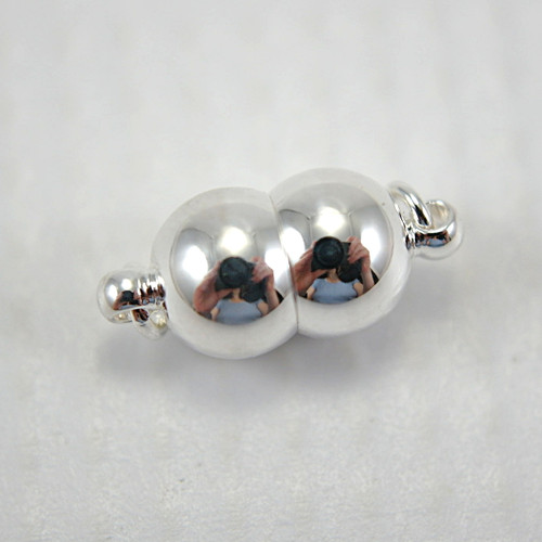 Magnetic clasp double bead shape silver plated 7x15mm
