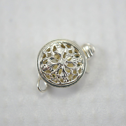 Filigree round box clasp sterling silver 9x12mm