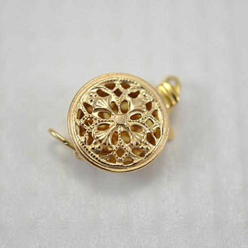 Filigree round box clasp 14k gold filled 9x12mm
