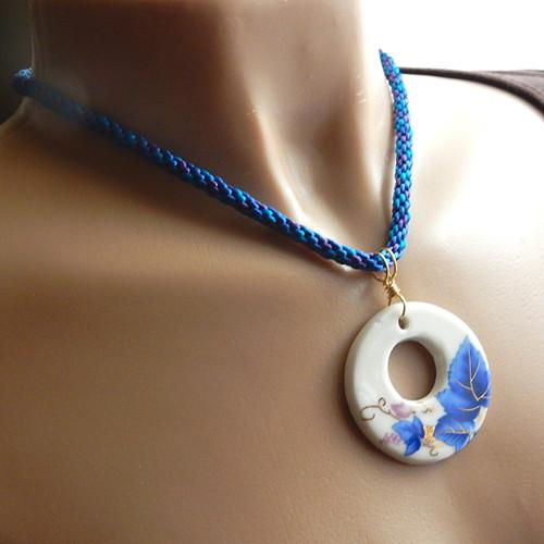 Blue purple necklace grapevine porcelain gogo pendant kumihimo 18.5 inch