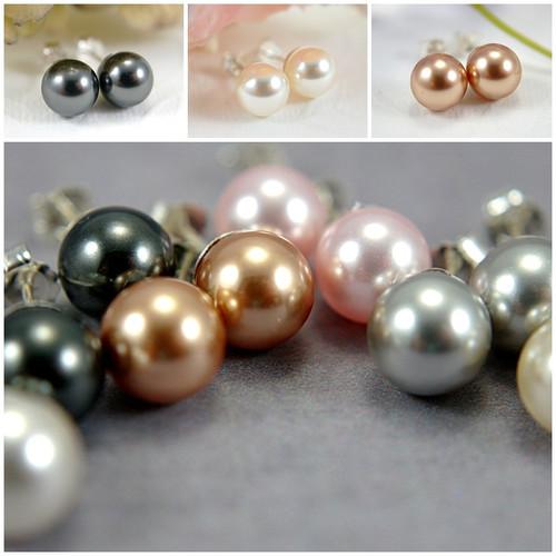 8mm Swarovski crystal pearl post earrings sterling silver