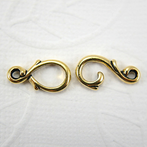 Vine hook & eye clasp gold plated pewter 7x16mm