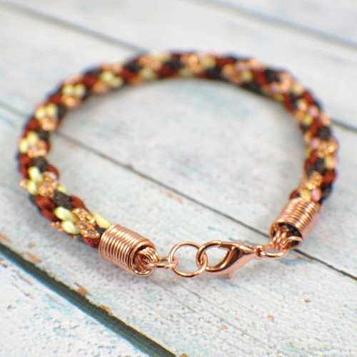 Kumihimo brown and copper braided bracelet 9 inch