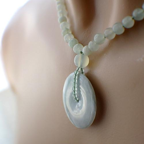 Jade donut necklace gemstone pendant 30mm 15.75 inch