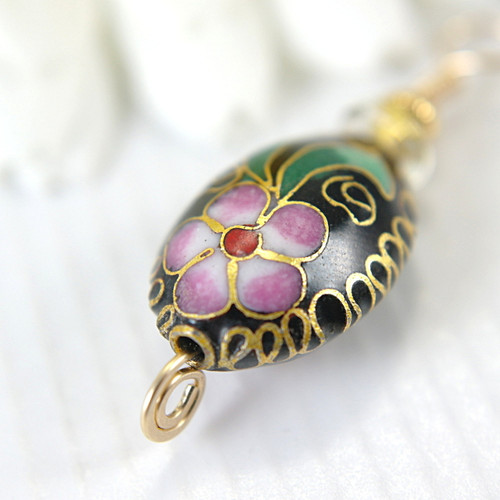 Black oval cloisonne pendant wire wrapped 14k gold filled 1 inch