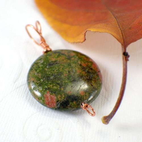 Unakite pendant gemstone copper 30mm