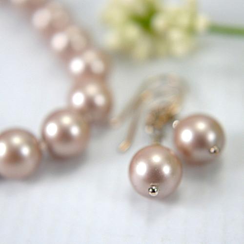 Swarovski powder almond crystal pearl bracelet set with earrings 8 inch