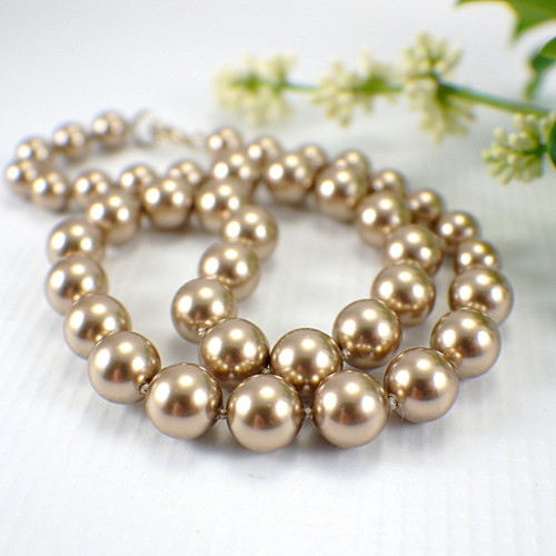 Bronze Swarovki crystal pearl necklace graduated hand knotted on silk 17 inch