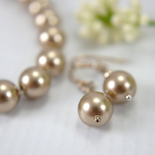 Swarovski bronze crystal pearl 8mm bracelet set with earrings 8 inch
