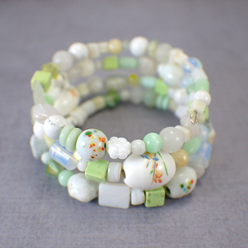 Memory wire lily of the Valley wide bracelet