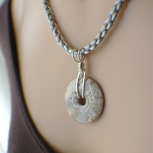 Grey gemstone donut necklace sterling silver 20 inch