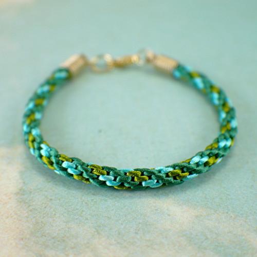 Kumihimo green bracelet 7.5 inch