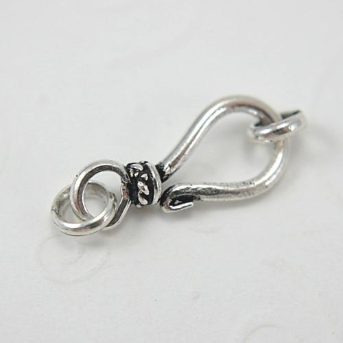 Fancy hook & eye clasp sterling silver antiqued 8x17mm