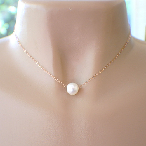1 large white 10mm freshwater pearl on delicate 14k rose gold filled chain 16 18 20 inch