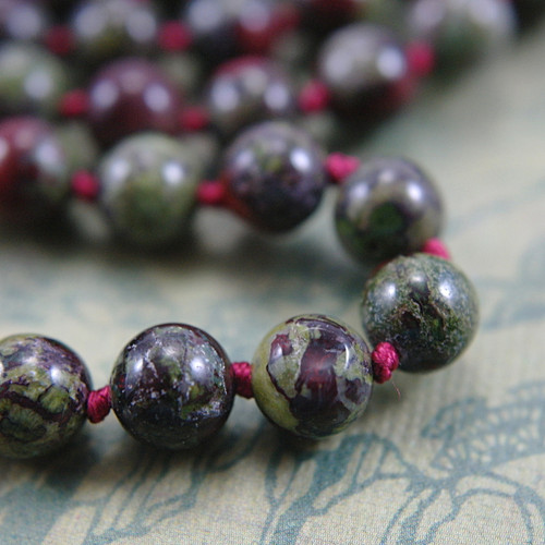 Dragons blood jasper 8mm gemstone bead necklace long 36 inch