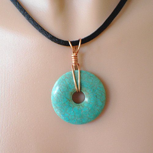 35mm magnesite gemstone donut necklace on wide 4mm black satin cord with copper 18 inch
