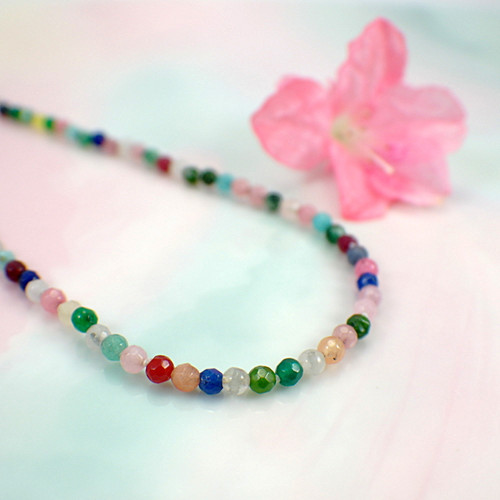 Multi gemstone necklace faceted semi precious bead hand knotted 15.5 inch