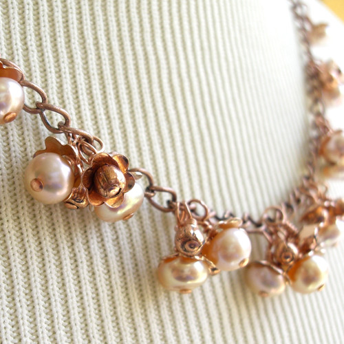 Pearl necklace copper and pale pink flower bud dangle blossoms 19 inch