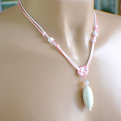 Pink and white satin chinese knot pendant necklace