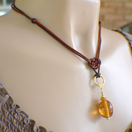 Brown satin chinese knot pendant necklace amber glass