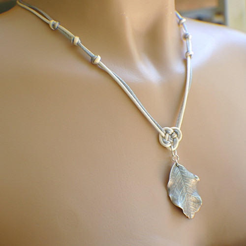 Pewter dipped carob leaf pendant necklace satin