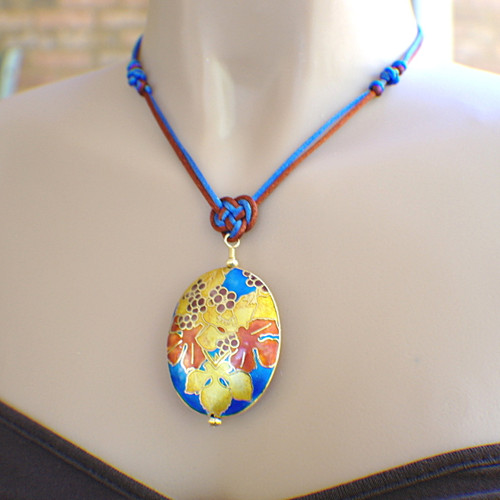 Autumn satin cloisonne chinese knot pendant necklace set with earrings