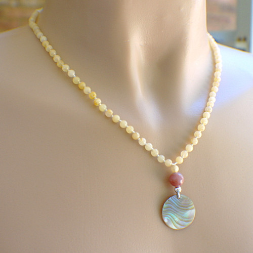 Shell pendant butterscotch gemstone pendant necklace