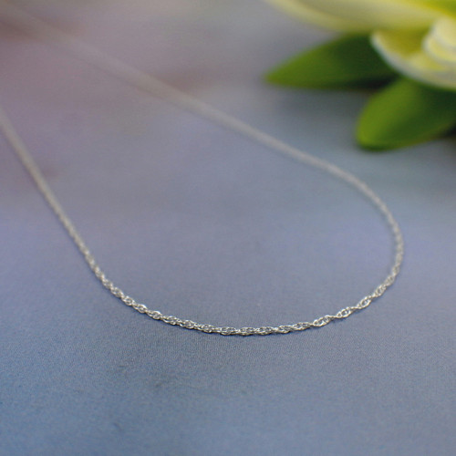 Thin double rope chain necklace sterling 1mm